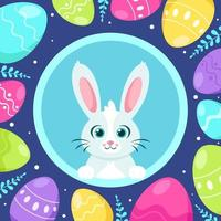 Happy Easter greeting card. Bunny with Easter eggs. Vector illustration