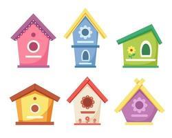 Birdhouses collection. Garden bird houses for feeding birds. Vector illustration