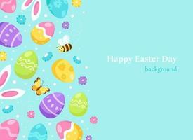 fondo de pascua orejas de conejo, huevos de pascua, flores. ilustración vectorial vector