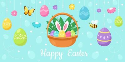 Happy Easter greeting card. Basket with Easter eggs, flowers, bee, butterfly. Vector illustration