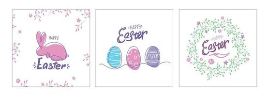 Easter Postcards set. card with eggs, bunny and wreath. one line drawing. Colorful spring poster or banner. vector