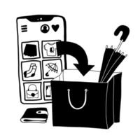 Online shopping doodle concept. illustration with a huge Cellphone and paper bag in black and white. vector