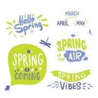 colorful Spring Lettering. Calligraphy hello spring, spring monthes green and blue. spring is coming vector