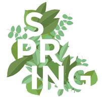 Spring letters on leaves background. Spring Poster with typography and plants. Bright green vector
