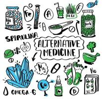 Alternative medicine doodle set. Sketch collection nutrition and biologically active additives. Homeopathy and vitamins, super food, acupuncture und diets. Hand drawn medical treatment elements. vector