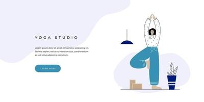 Yoga studio website banner template with button. Standing woman in Vrksasana. Female character in a tree yoga pose. Flat design for element for internet. Vector illustration of a meditating calm girl.