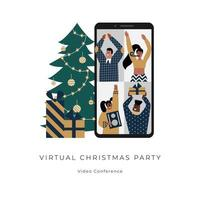 Online Christmas party with tree and gifts. Virtual video conference helps stay safe. Male and female characters on a remote celebration. Digital technologies connect friends during isolation. vector