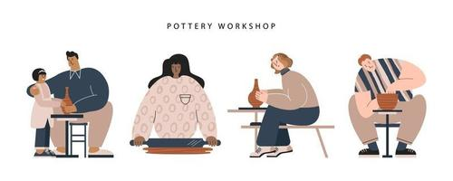 People at ceramic workshop flat vector illustration. Diverse race and skin color characters making pottery. Set of male and female crafters with child. Banner, website, social network design elements.