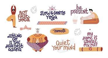 Yoga lettering set flat vector illustration