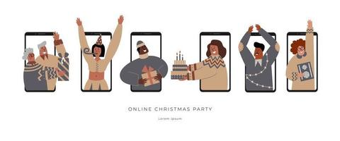 Safe online Christmas party celebration. Family and friends virtual gathering. Variety of characters on a remote video phone call. Digital technologies and internet connect people during isolation. vector
