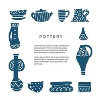 Hand drawn frame for pottery studio. Gzhel objects. Amphora, pot, kettle, vase, cups, bowl. Design elements to print on cards, invitations, banners. Monochrome decorative design for craft lovers. vector