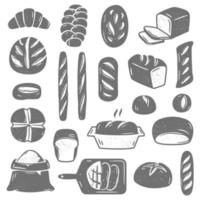 Collection of black and white vector illustrations of assorted types of baked bread and pastry of different shapes isolated on white background