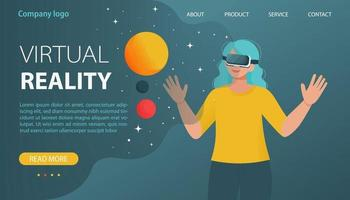 Woman usings a virtual reality VR headset. Vector illustration in flat style for web site, landing page, banner or others