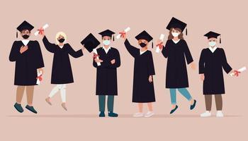 grupo de jóvenes felices, graduándose con batas y máscaras faciales vector