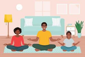 Afro american family doing yoga together at home. Cute vector illustration in flat style