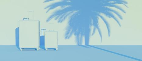 3D blue monochromatic scene with two suitcases photo