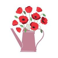 Vector illustration of bouquet of bright red poppy flowers in watering can isolated on white background