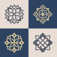 Set of luxury monochrome ornate logos in different colors and varieties. vector