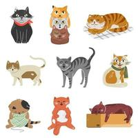 Variety of breeds cats with different poses and emotions. Collection of adorable kittens. vector