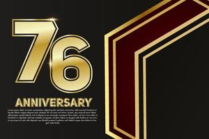 76 year Anniversary celebration. Golden number 76 with sparkling confetti