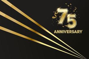 75 year Anniversary celebration. Golden number 75 with sparkling confetti