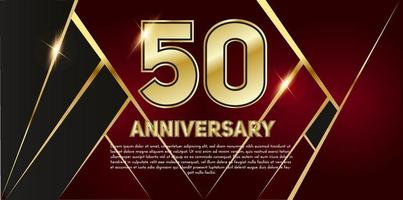 50 year Anniversary celebration. Golden number 50 with sparkling confetti