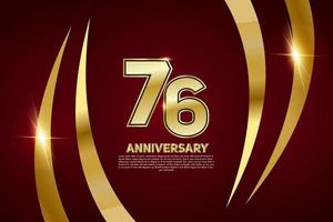 Celebración del aniversario de 76 años. Número de oro 76 con confeti brillante. vector