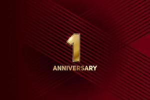 celebración del primer aniversario. número de oro 1 con confeti brillante vector
