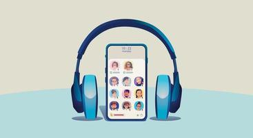 One man uses headphones, listens to a smartphone, screen show status of people using social networking applications vector