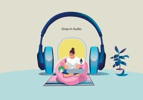 One woman uses headphones, listens to a smartphone vector