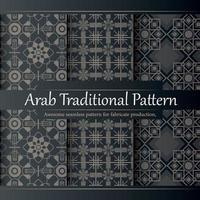 colección de patrones árabes lineales de diseño plano de lujo