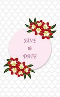 Save the date greeting card with flower elements isolated and editable.
