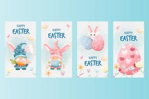 Watercolor easter social media posts collection vector