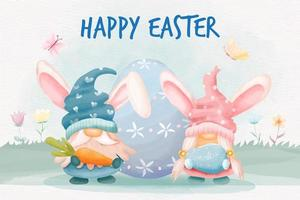 Watercolor easter day with gnomes bunny and easter eggs vector