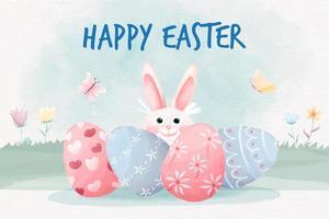 feliz día de pascua fondo con lindo conejito y huevos de pascua vector