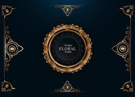 elegant golden floral frame vector