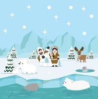 invierno de la familia esquimal, fondo ártico del polo norte vector