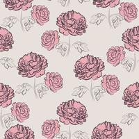 Vintage peony meadow seamless pattern vector