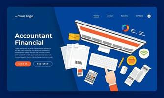 Financial accounting services landing page vector