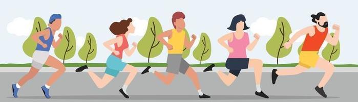 Runners, group of men and women running outdoors vector