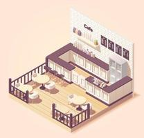 isometric illustration Cute small cafe or restaurant with outside tables vector