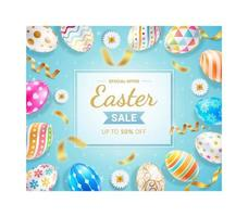 Easter day banner template with colorful easter eggs, gold ribbon and daisies on blue color background. vector