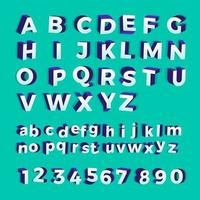 vector, 3d, isométrico, alfabeto, y, números vector