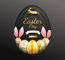 Easter day banner template with gold easter eggs inside egg paper cut shape on black background. vector