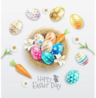 Happy easter day colorful patterned easter eggs in egg nest with lilies and daisies. vector