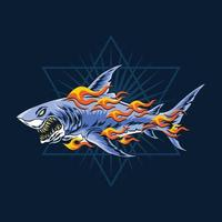 ferocious sharks attack with burning flames vector