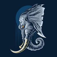 La cabeza de elefante de Ganesha se ve muy majestuosa y varonil. vector