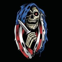 angel of death grim reaper with hood cloak american flag holding a dagger vector