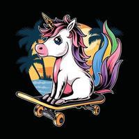unicorn sitting on skateboard on the beach during summer vector