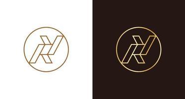 Luxury minimal letter RY circle logo emblem vector